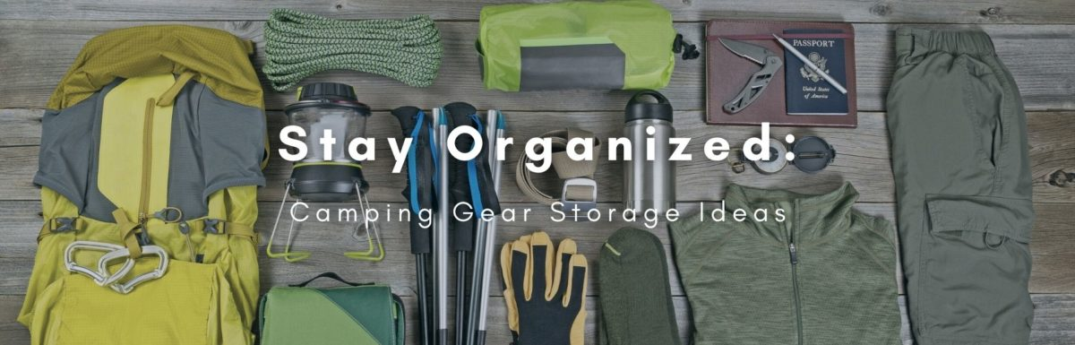 Camping gear properly organized in table