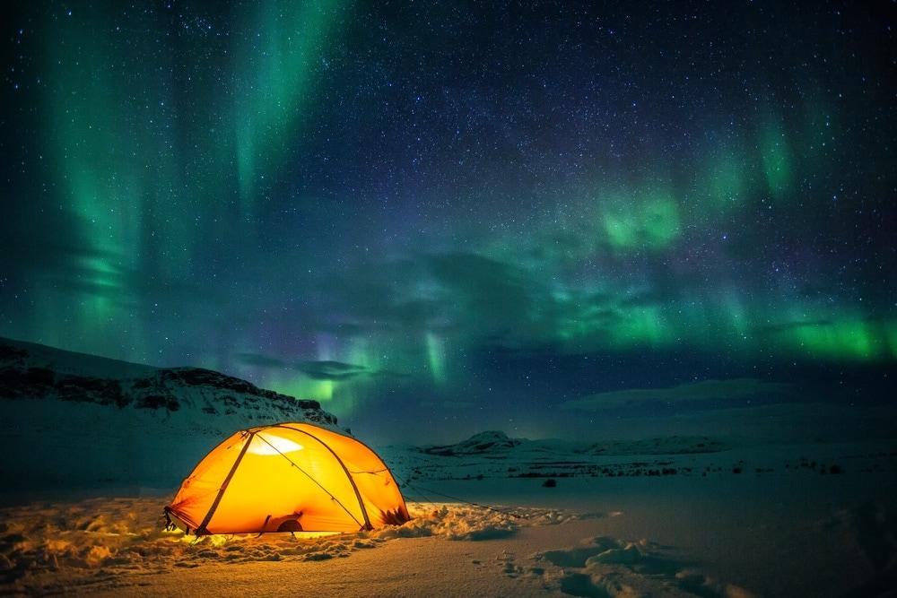 Tent under northern lights