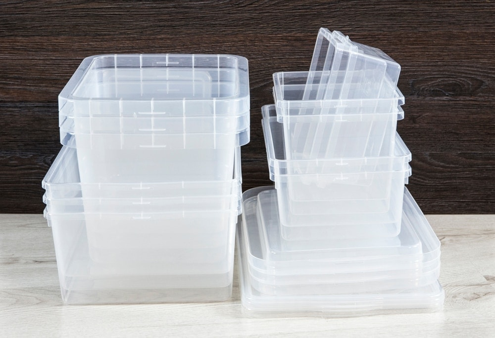 Clear plastic storage containers in various sizes