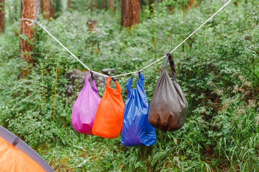 Hanging stuff sacks during camping