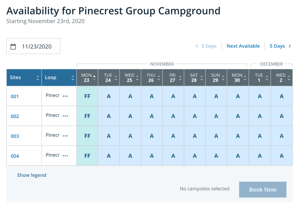 Sample Schedule for Pinecrest Campground