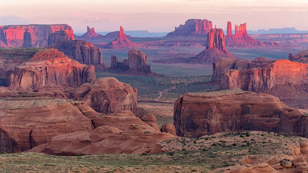 Sunrise landscape of Butte mountain in Monument Valley