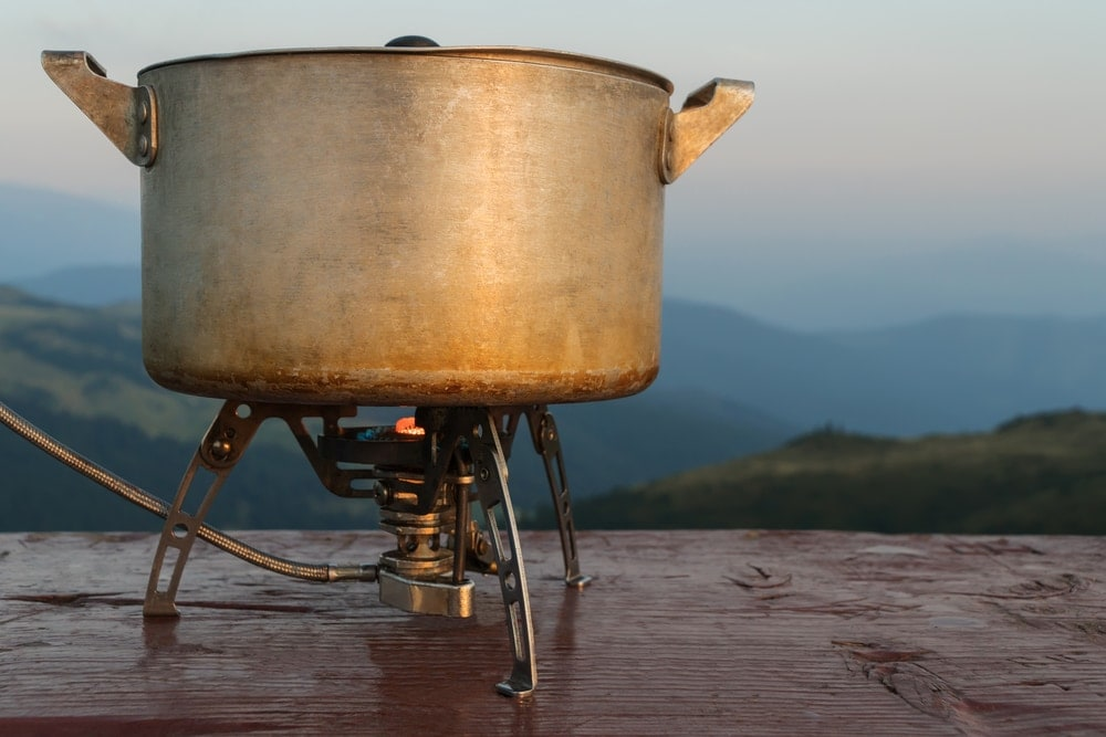 Cooking pot over a fire outside