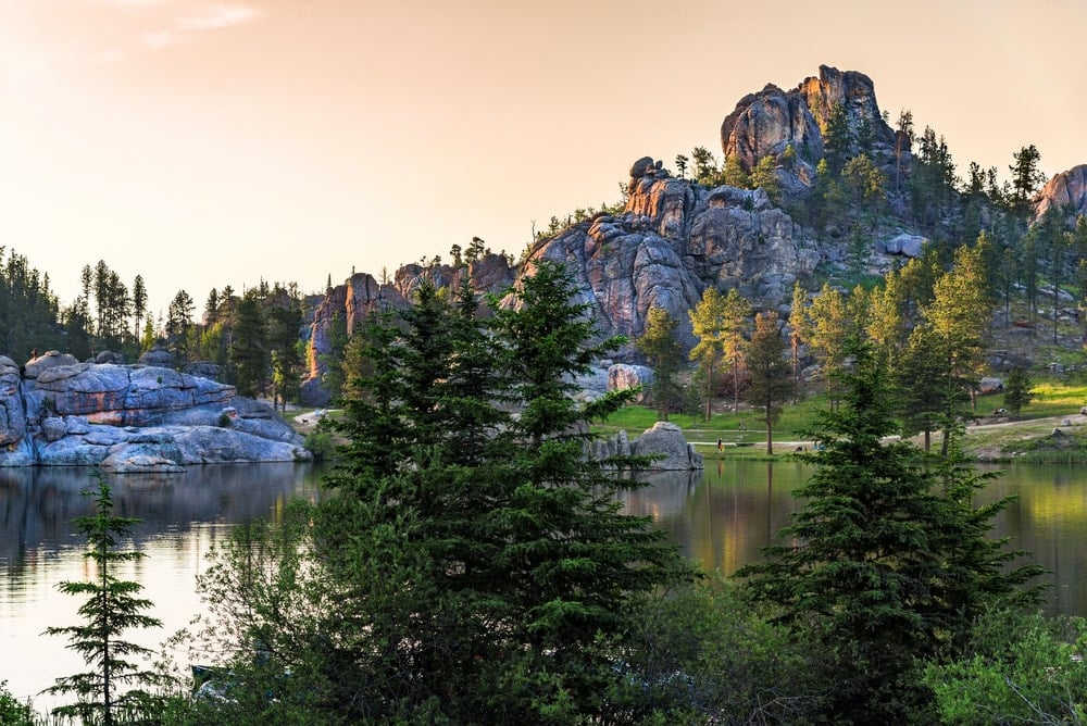 Sylvan Lake with the dome mountain at dusk