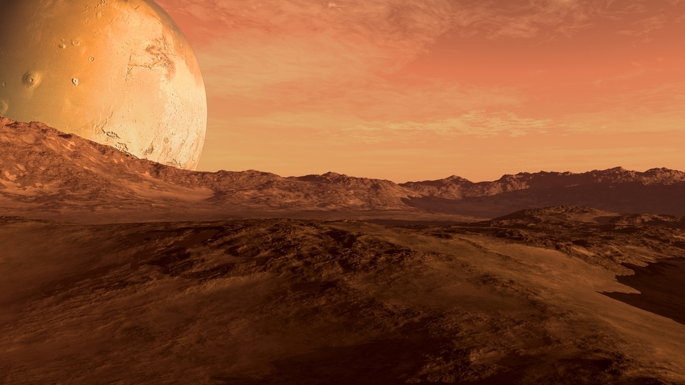 Desert in the another planet with Moon-like planet beside