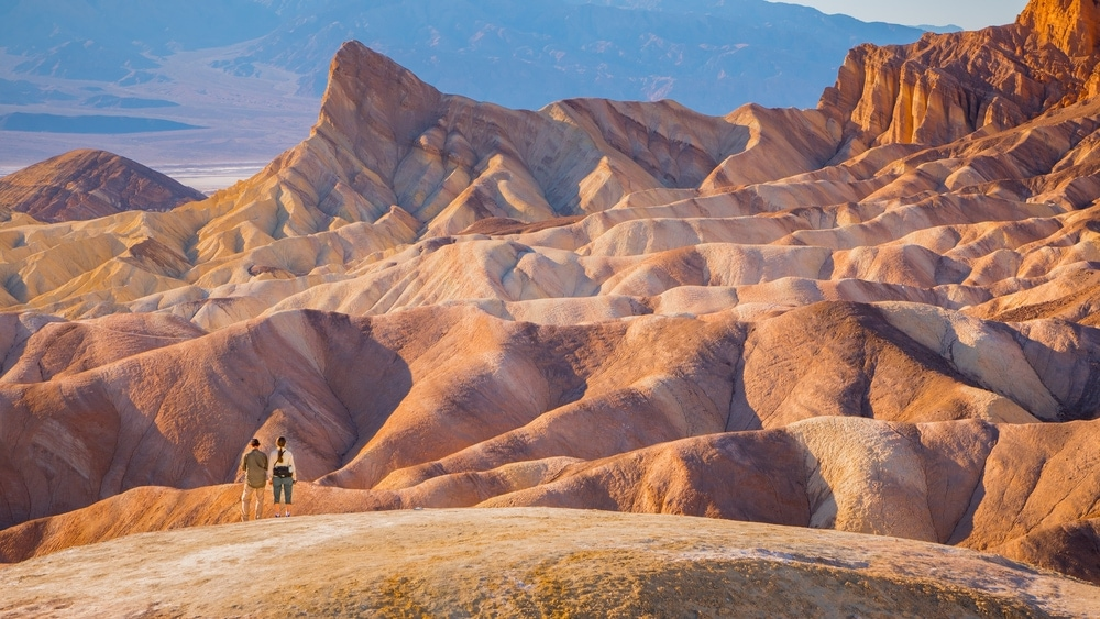 Two hikers in Death Valley Mountain