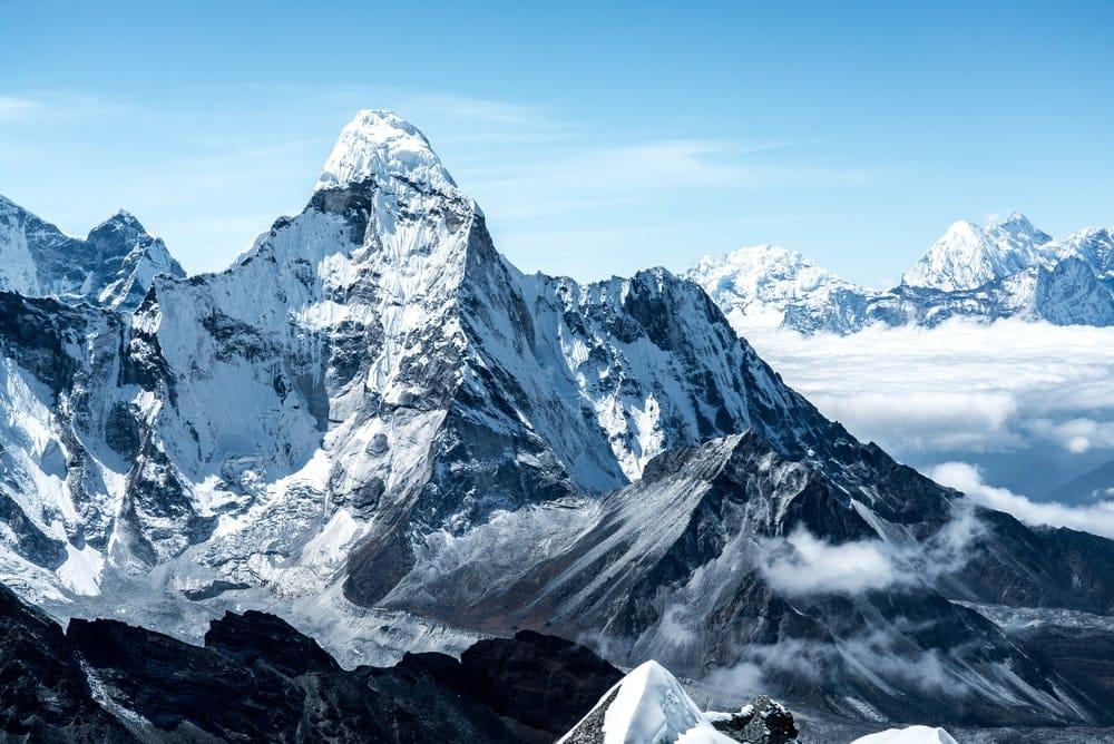 Towering peak of Himalayan mountain