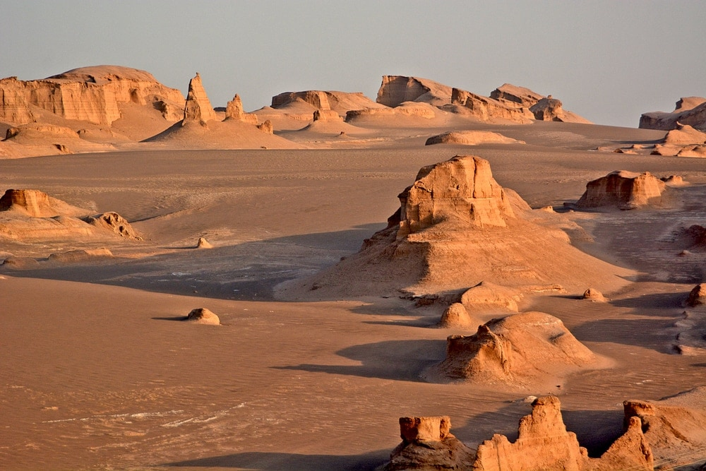 Clear and sunny view of Lut Desert in Iran
