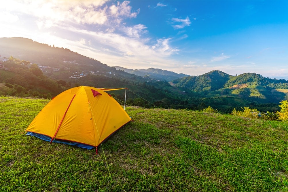 Tent on the top of mountain