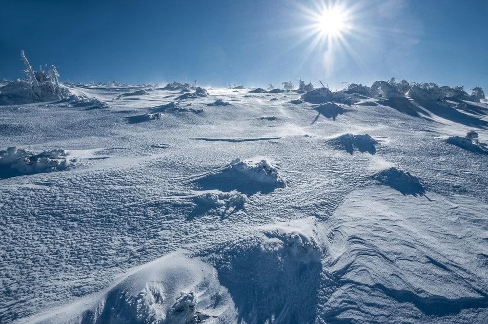 Sunny view of icy desert in Antarctica