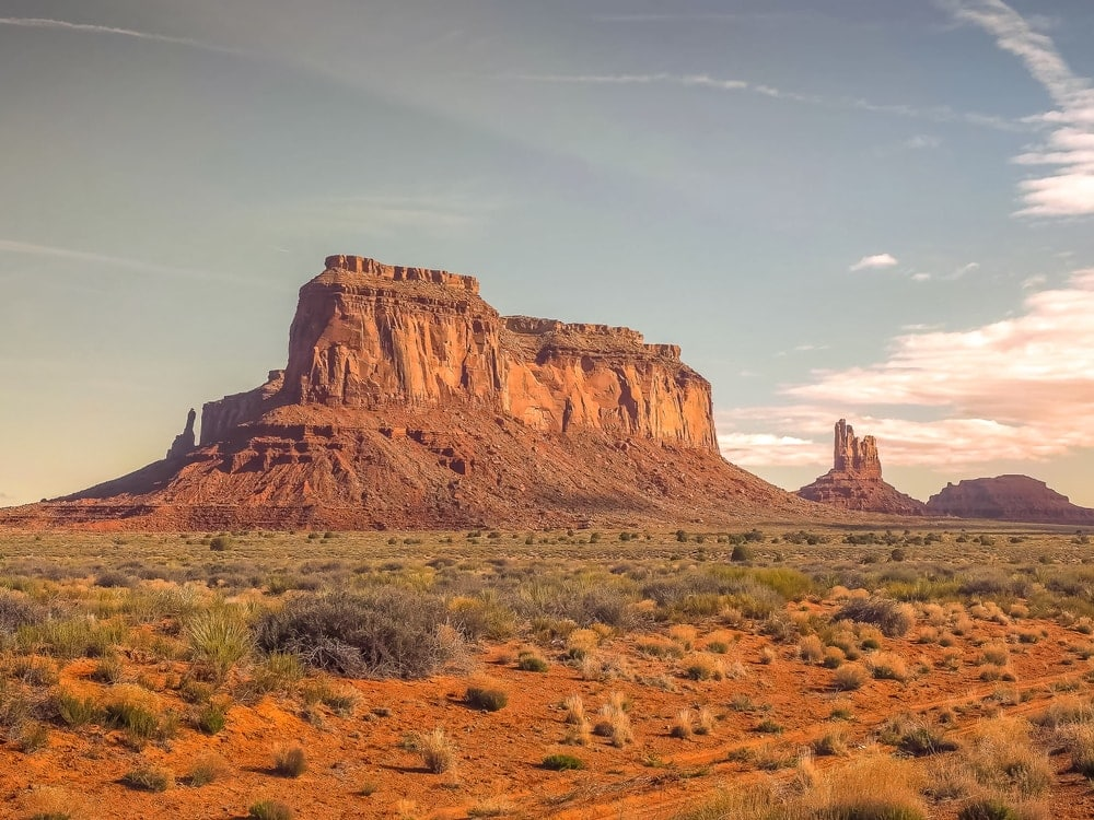 Morning view of Mesa Mountain in Monument Valley