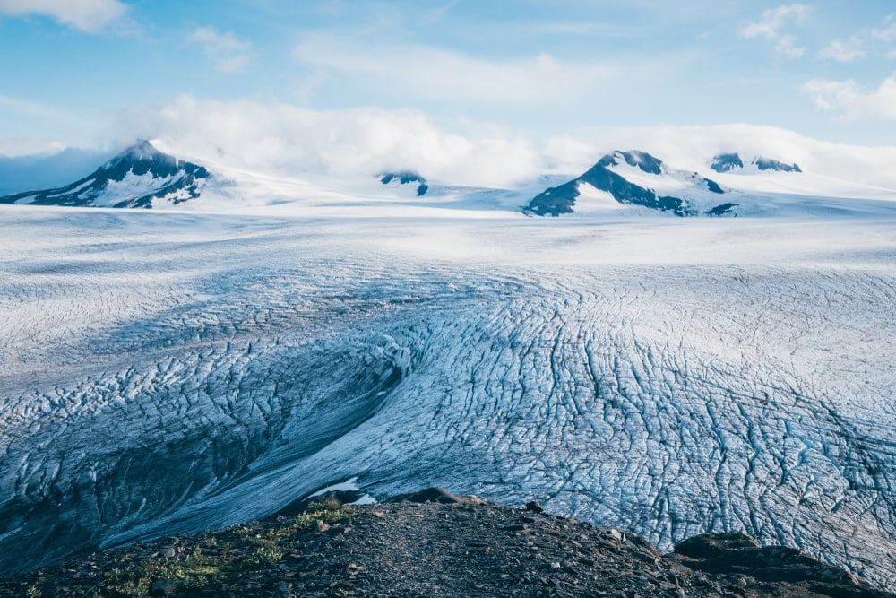 Harding icefield with some mountain peaks in the background