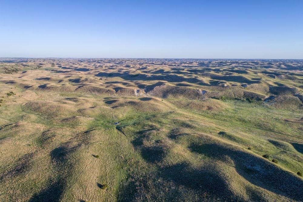 Aerial view of vegetative Nebraska Sad Hill