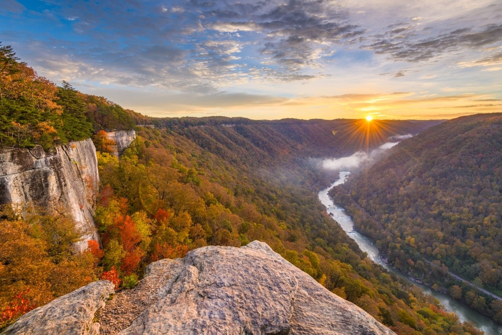 New River Gorge mountain in the morning
