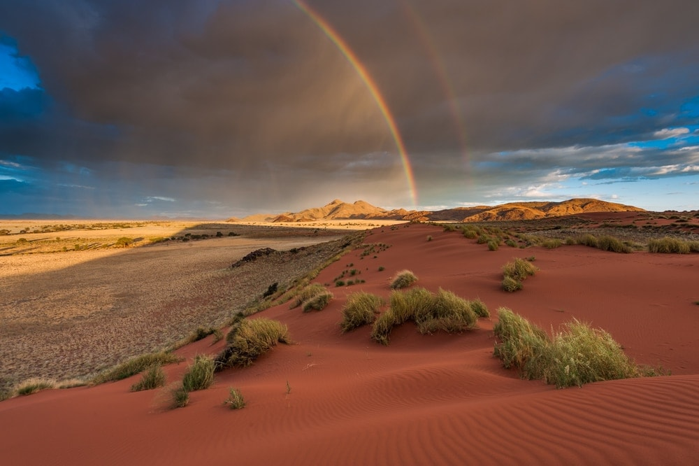 Rainbow view in the desert