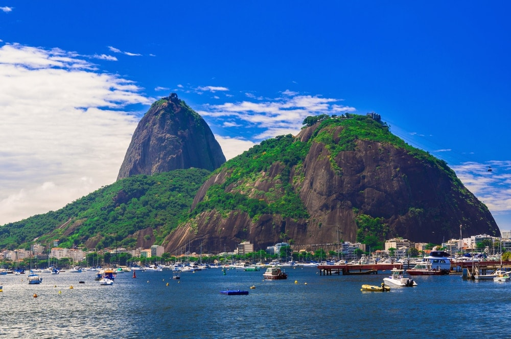 Sugarloaf mountain surrounded by water in Rio de Janeiro