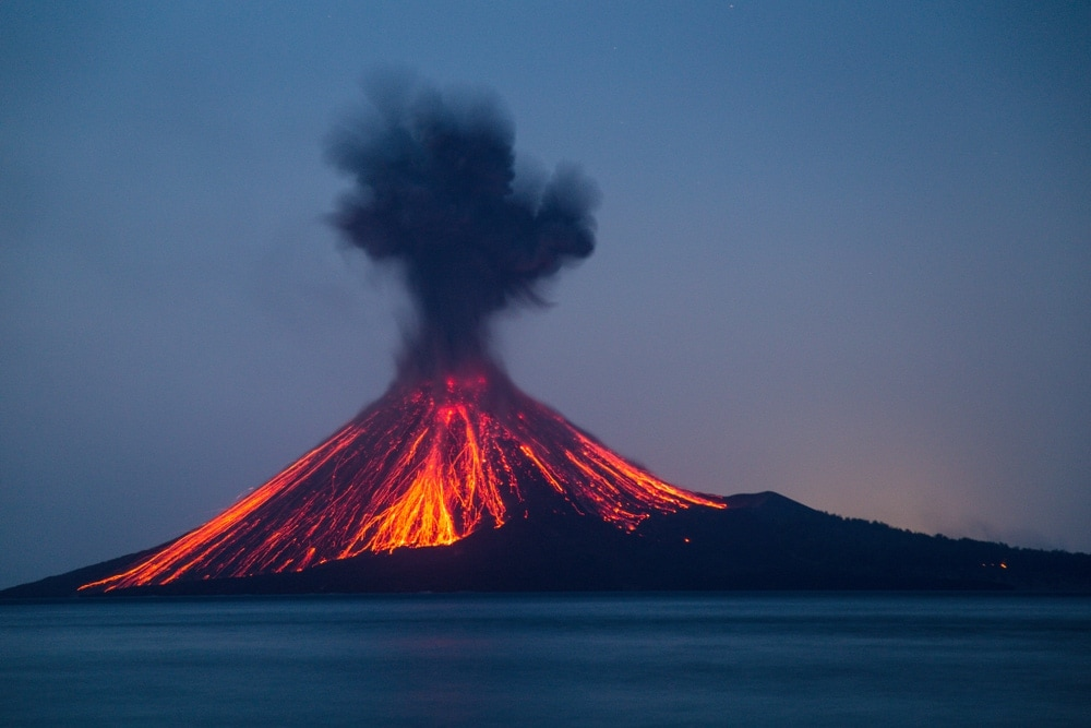 Volcanic mountain eruption with lava coming out