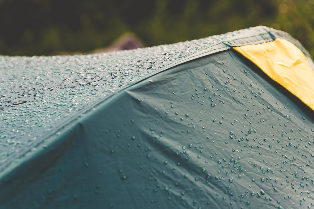 Raindrops on a waterproof tent