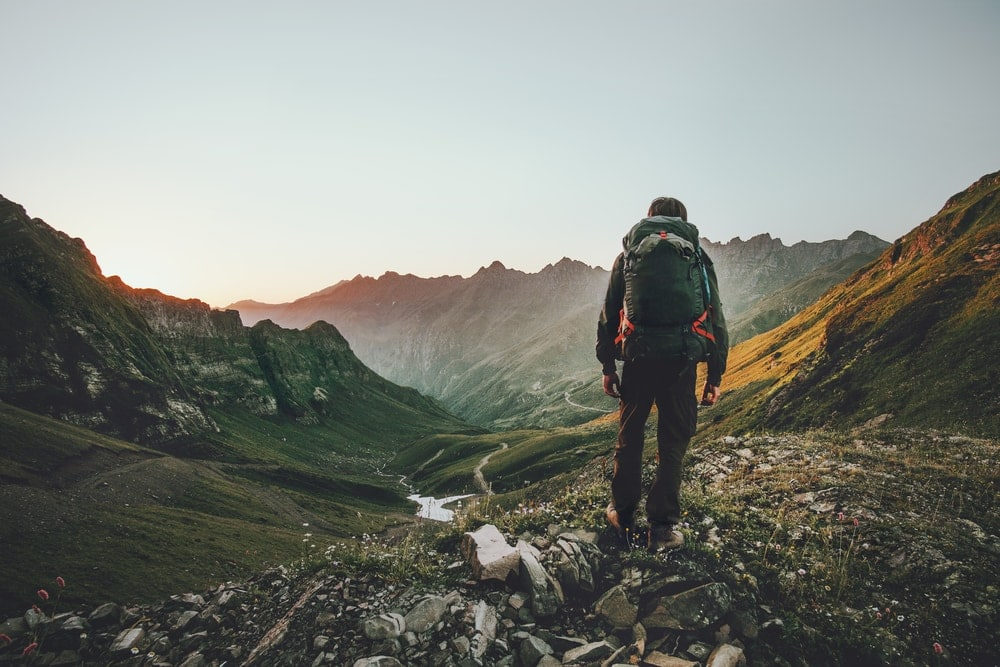 Man hiking alone on the mountain
