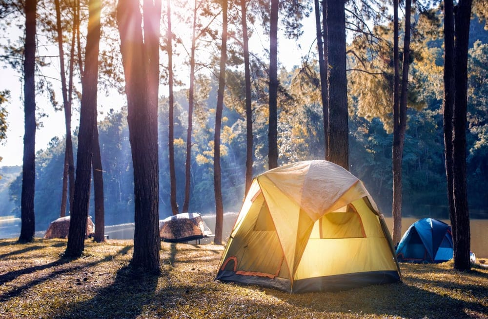 Camping tents beside the river