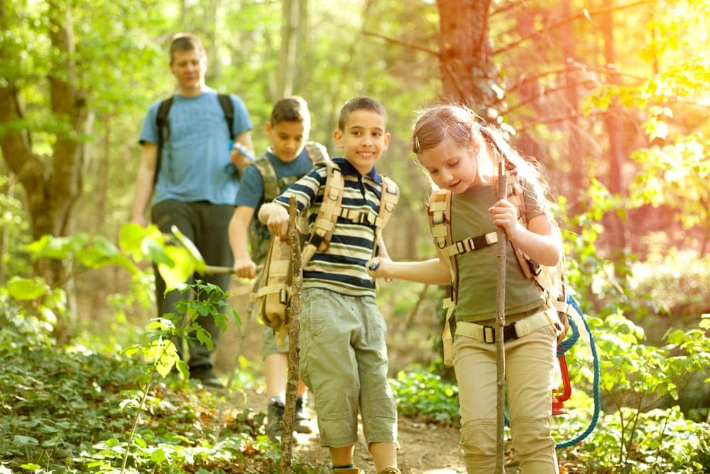 Kids hiking in nature
