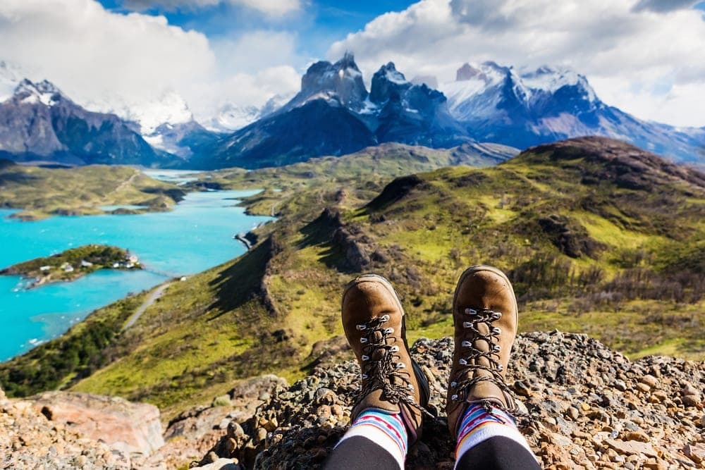 Hiking boots and a mountain view