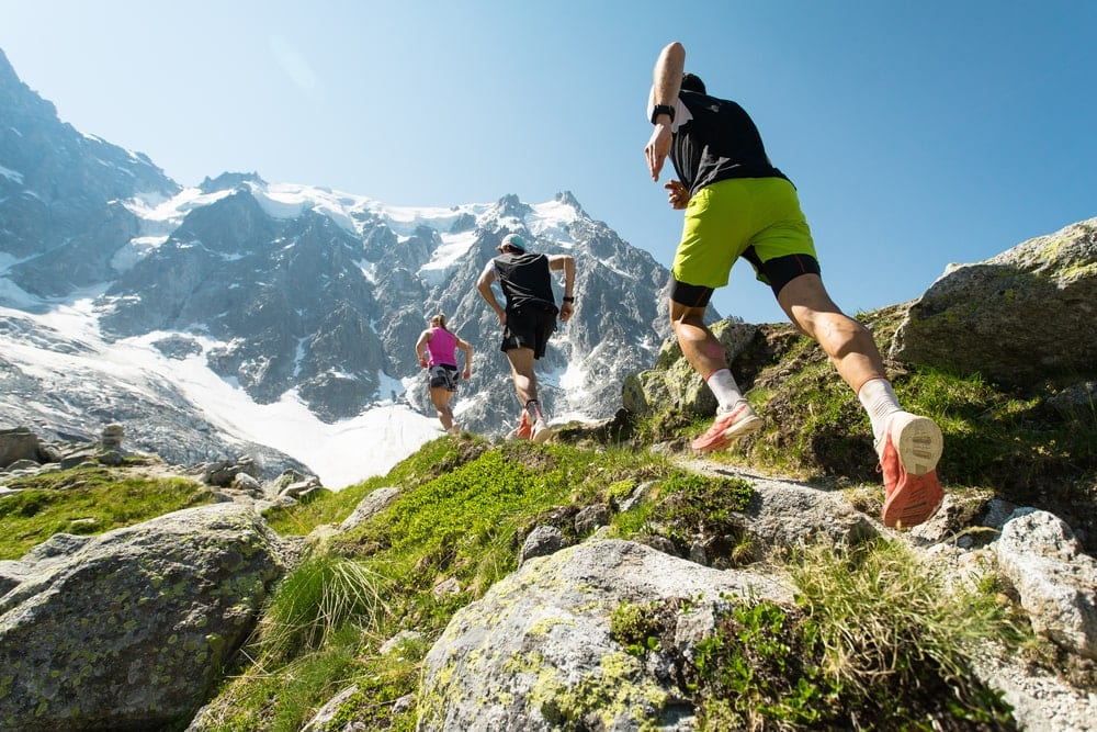 People hiking on a mountainous area