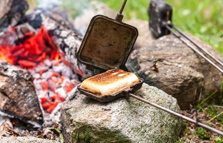 sandwich maker pan by campfire