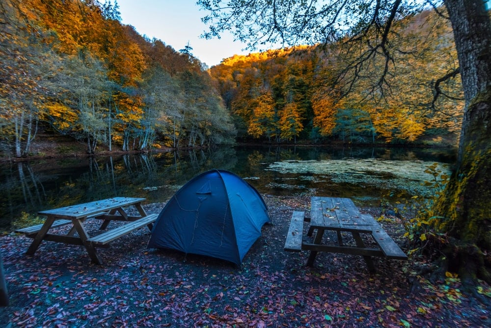 Camping tent in between two benches in fall