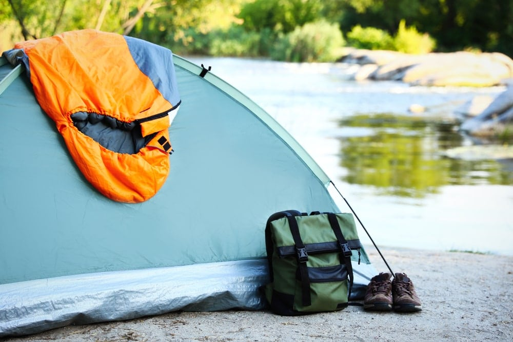 Camping gears outside of a tent