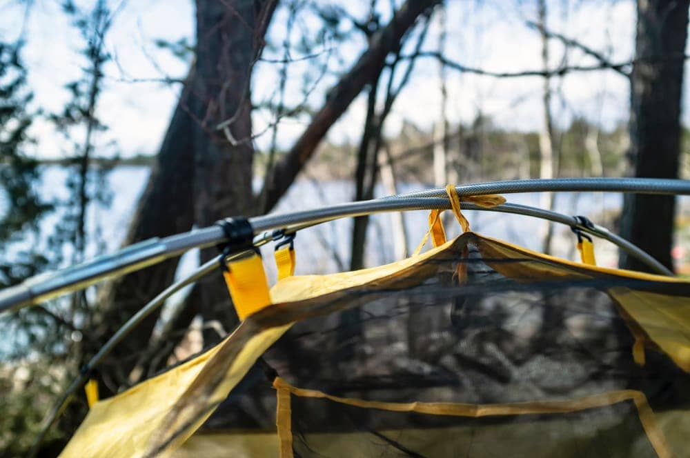 Camping tent poles in close up