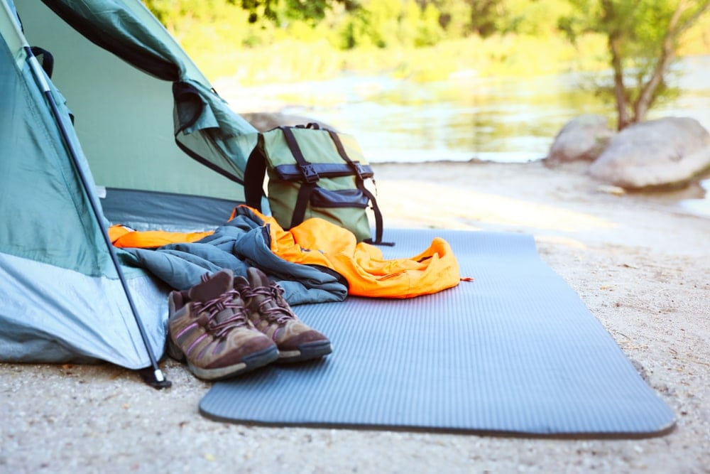 Camping gears outside tent