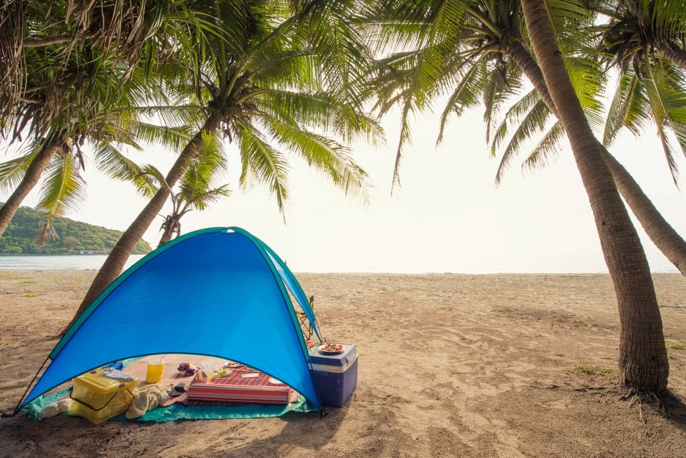 Camping tent tarp on the beach