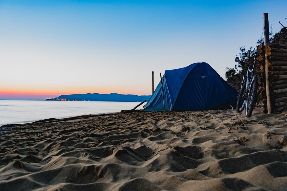camping tent set up in the beach