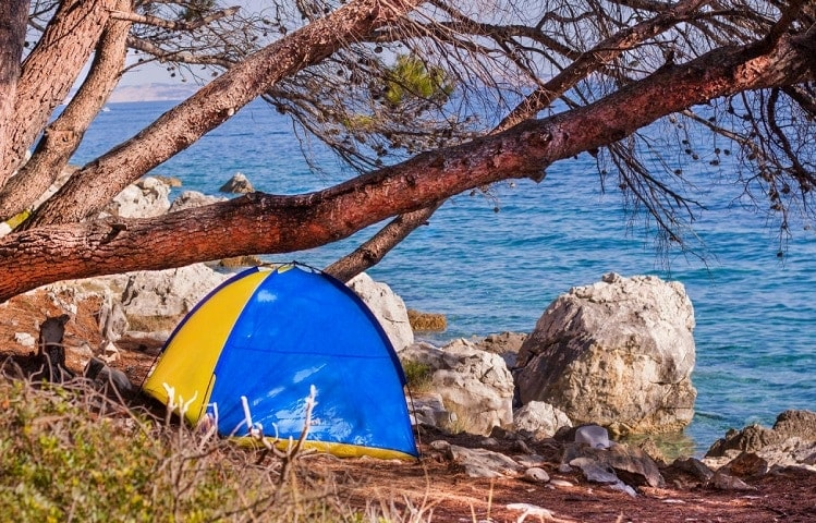 tent placed by the sea