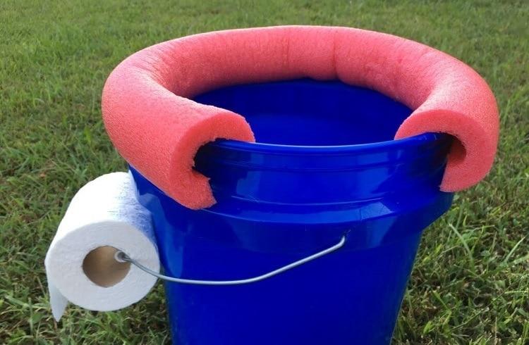 finished bucket toilet