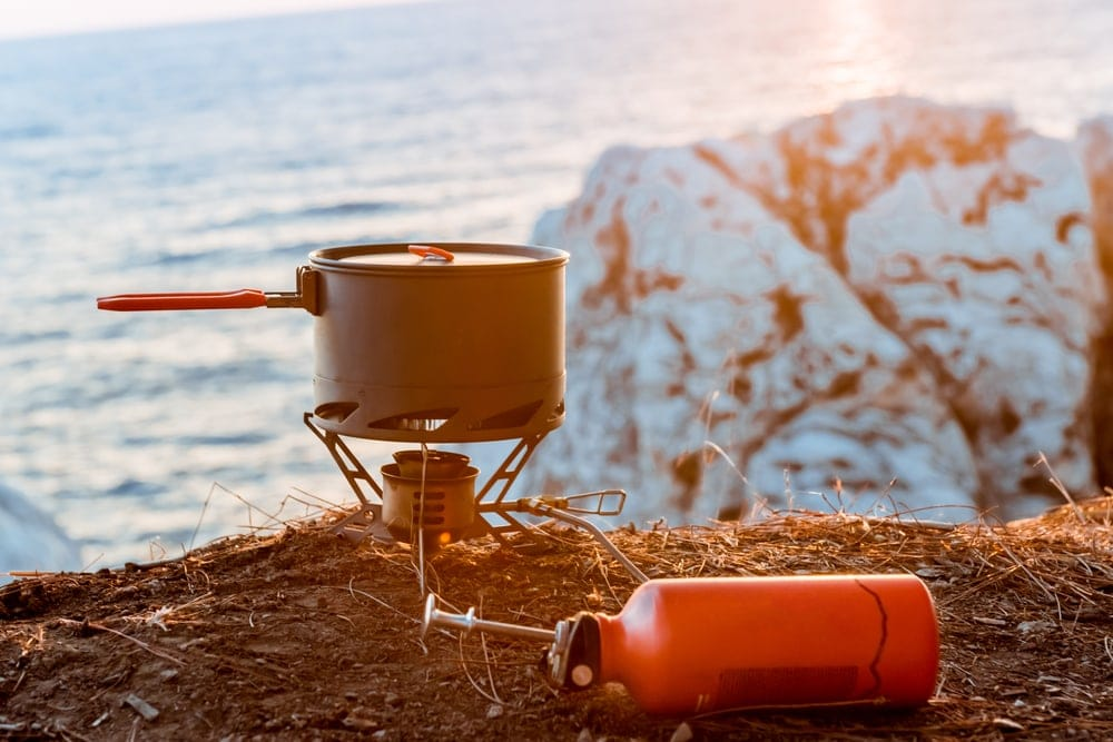 Liquid Fuel Stove used to boil water while camping