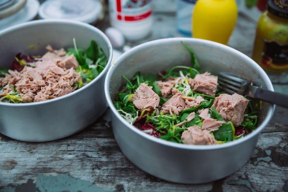 Tuna salad on a bowl as camping food