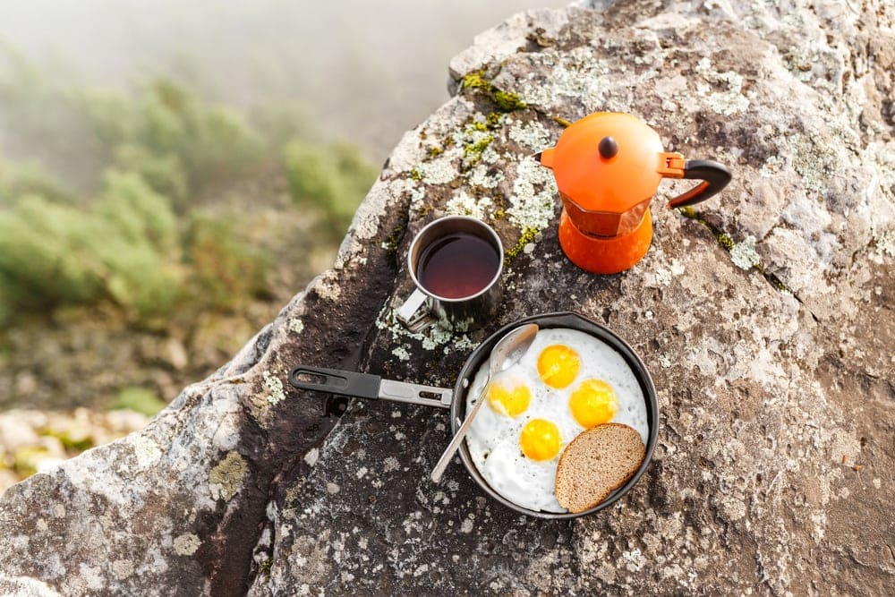 Camping coffee and egg as camping food