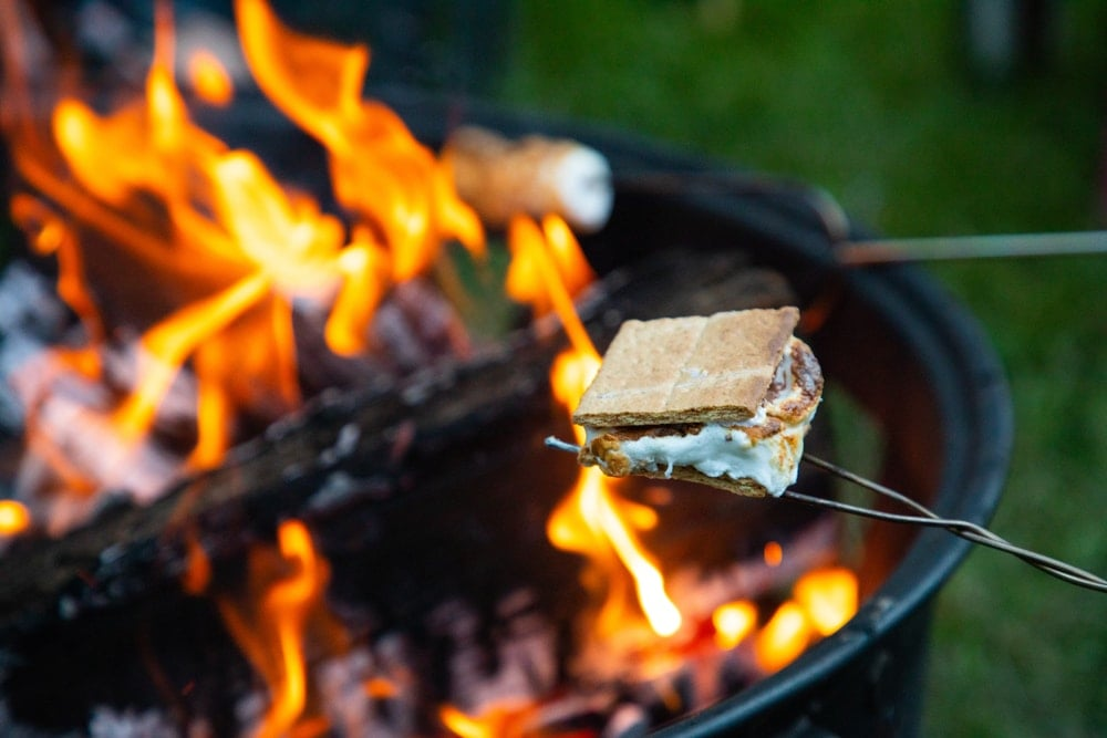 S'mores on a campfire as camping food