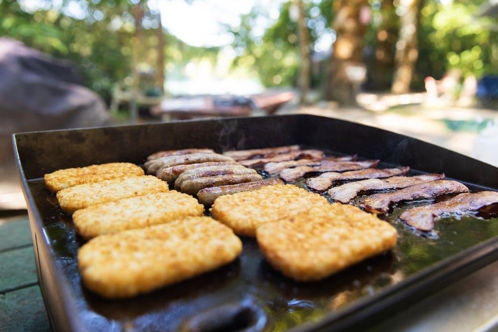 Cooking hash brown as camping food