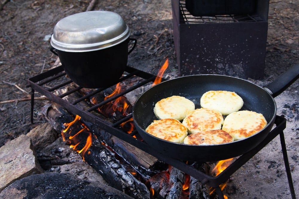 Pancakes cooked over a campfire as camping food