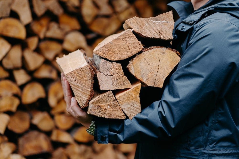 Man carrying camping firewood