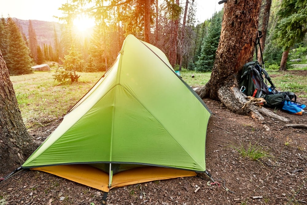 Covered camping tent