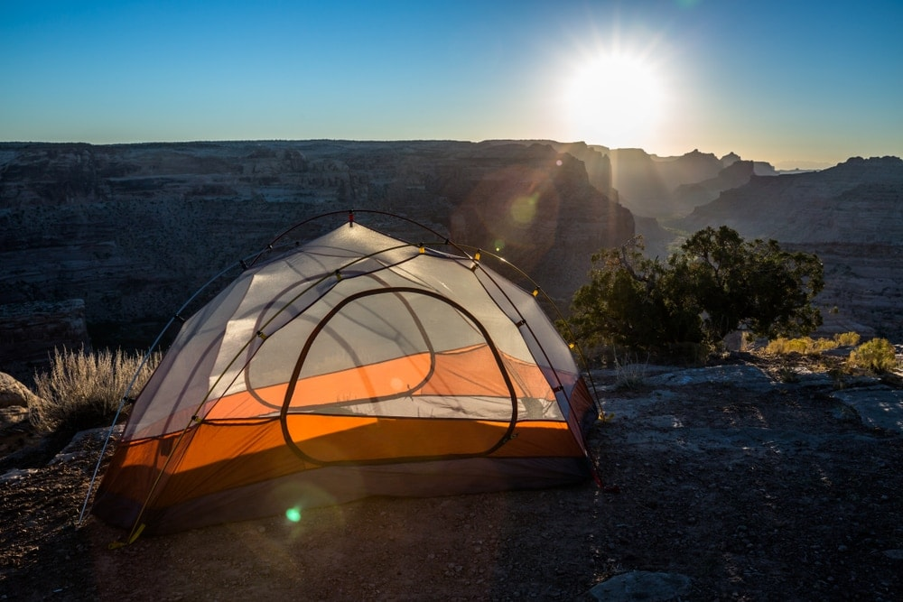Camping tent on the mountain