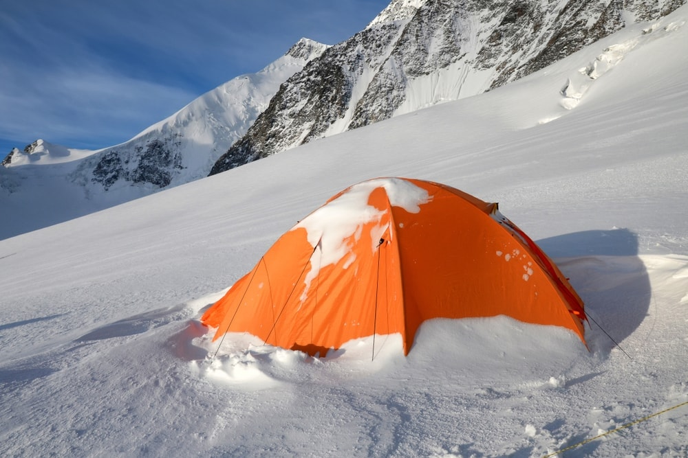 Camping tent in snowy mountain