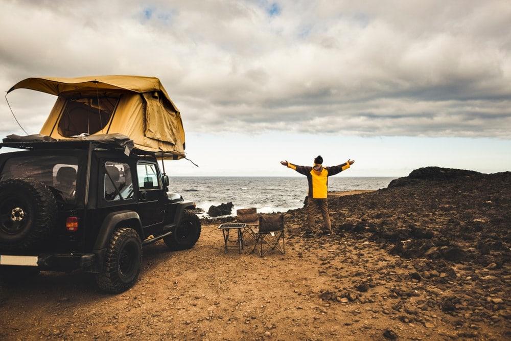 Car camping near the beach