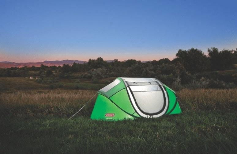 Coleman Pop up tent in a campsite