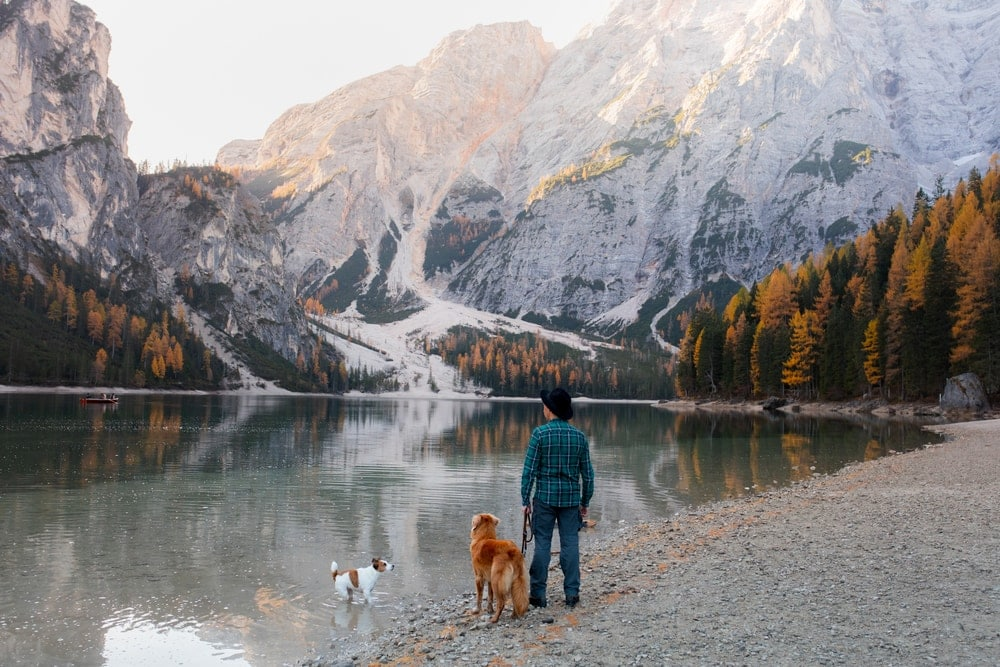 Man holding his dog while camping