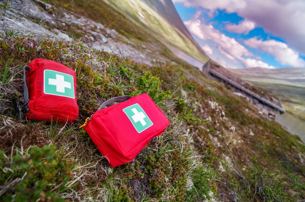 First aid kit on the ground for dog camping